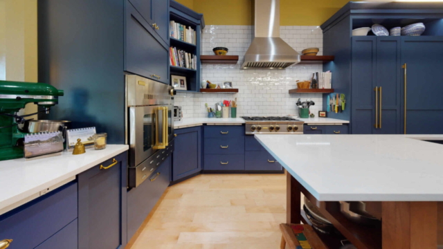 Ceiling height cabinets with built-in appliances - after remodeling