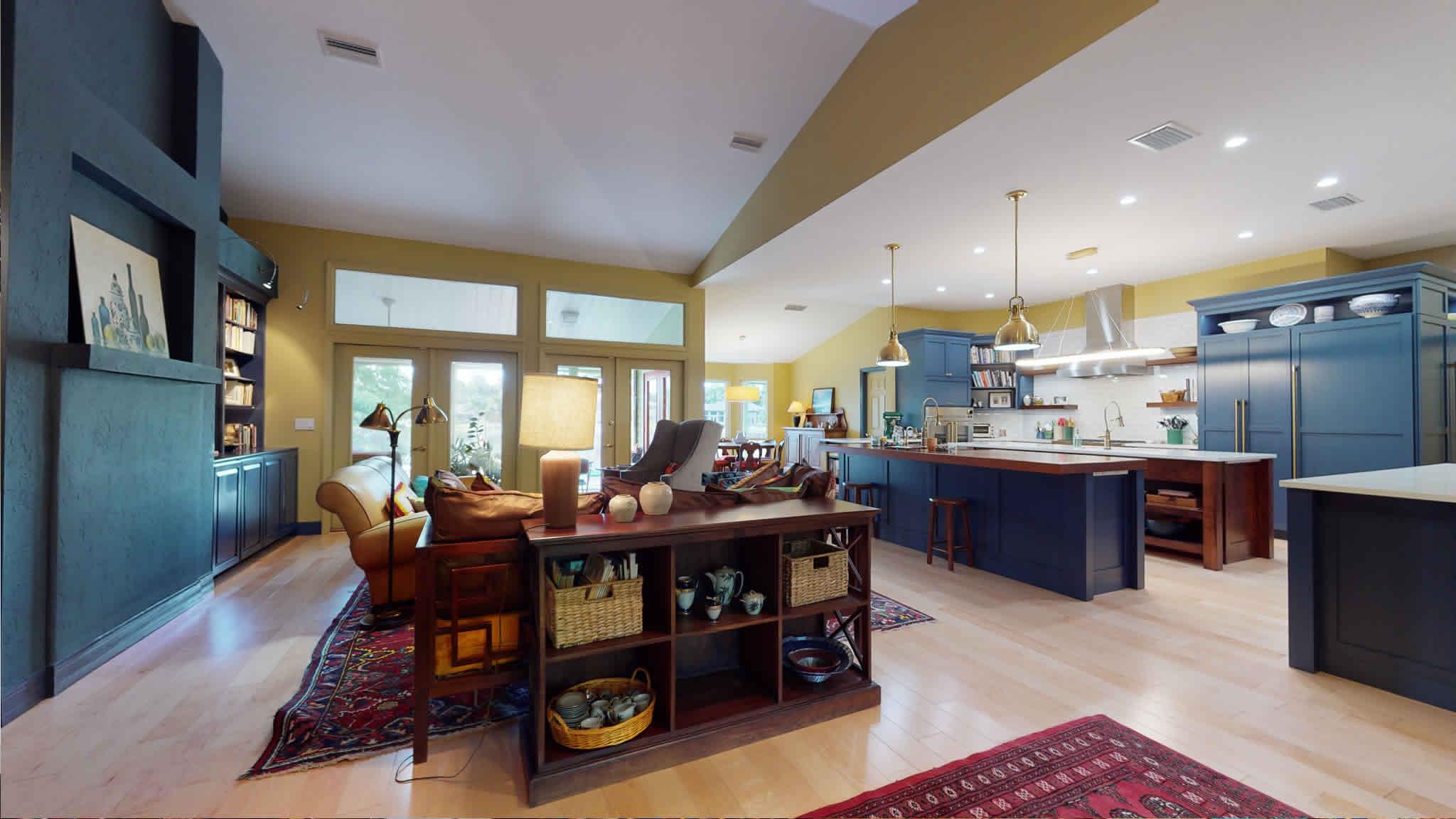 Open floorplan living space after remodel
